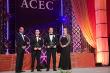 Pictured from left to right: Manish Kothari, ACEC Chairman Elect; Cris Copley, HFDP, LEED AP (BR+A); Travis Wanat (MIT)